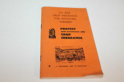 Vintage Booklet Used Notebook Crop Insurance Manitoba Farmers 1973