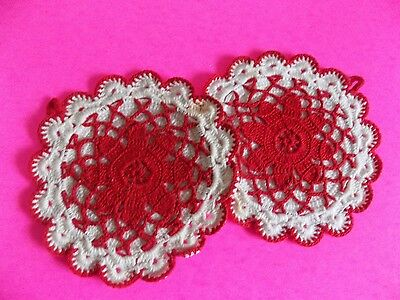Vintage Handmade Pot Holders Hand Knit Red and White