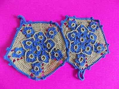 Vintage Handmade Pot Holders Hand Knit Blue and Yellow