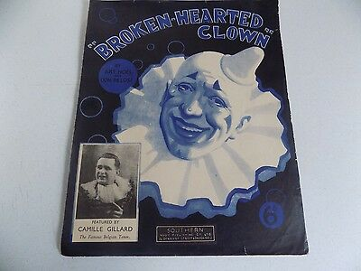 Vtg Booklet Song Sheet Music Piano Broken-Hearted Clown 1937 Southern Music Publ