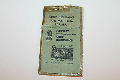 Vintage Booklet Used Notebook Crop Insurance Manitoba Farmers 1968 #3