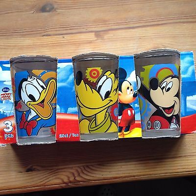Micky Mouse & friends Donald Pluto Glasses set x3 Disney Collectables New Boxed