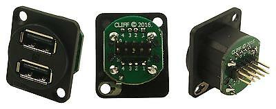 Cliff Electronic Components - CP30100 - Connector, Xlr Dual Usb2 Csk Holes