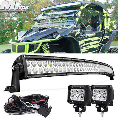 """Curved 50"""" LED Light Bar+2x Fog Pods For Can-AM Commander Maverick X3 DS RS MAX"""