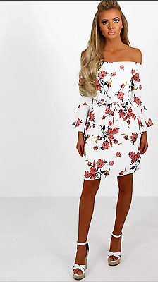 Womens New Ladies Tie Floral Off the Shoulder Bell Sleeve Summer Dress 8-14
