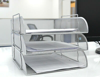 Silver Mesh Filling Front Loading 3 Tray Letter Magazine Storage  Desktop Office