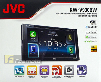 """JVC KW-V930BW 6.8"""" Clear-coated Display WiFi Apple CarPlay Android Auto DVD"""