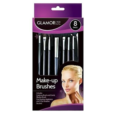 8 Pack Glamorize Make-up Cosmetic Brush Set Blusher For Comb Eye Shadow Eyebrow