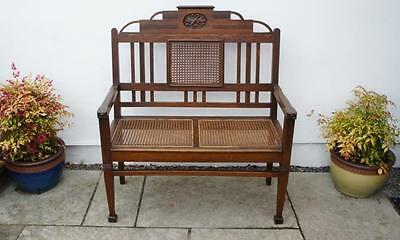 Arts & Crafts Oak  2 seat cane  parlour settee or  hall seat