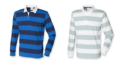 Mens Gents Long Sleeved Striped Cotton Rugby Shirt Top 2 colours S-XXL FR110
