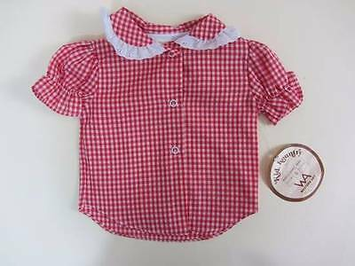 girls vintage blouse red gingham lace peter pan collar country western 9months
