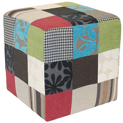 PLUSH PATCHWORK - Cube Stool / Pouffe - Blue / Green / Red OCH4002