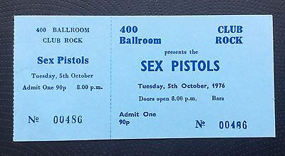 Sex Pistols 400 Ballroom Club Rock Gig Ticket 1976 Complete + Letter + COA Punk