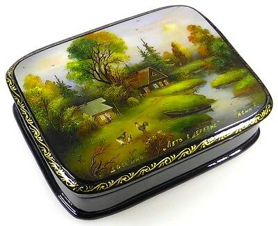 Sommer im Dorf Russische Lackmalerei Lackdose Russian lacquer box Fedoskino
