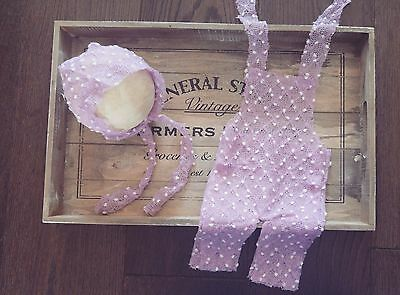 Newborn Lilac Knitted Dungaree Romper Bonnet Handmade Set Photography Prop Baby