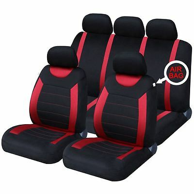 Universal Car Black & Red Seat Covers Washable Airbag Safe Carnaby 8 Piece Set