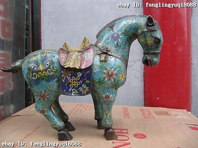 Royal 100% Pure Bronze Copper handwork Enamel cloisonne Lucky Tang Horse Statue