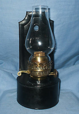 Vintage, Black, Wall or free standing Oil Lamp