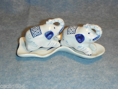 Porcelain Elephant Salt And Pepper Shakers