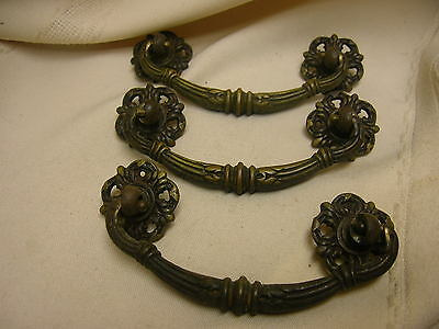 3 Vintage Drawer Pulls DIY Project Hardware Handles Ornate Design