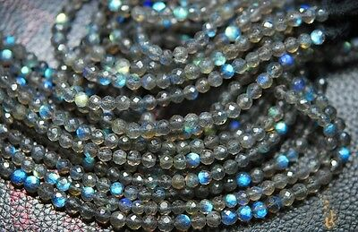 """Full 13"""" Strand Fine Quality Blue Fire LABRADORITE Drilled Faceted Round Beads"""