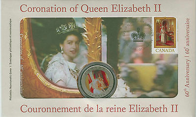2013 Canada Colored 25 Cent Quarter & Stamp Set Coronation of Queen Elizabrth II