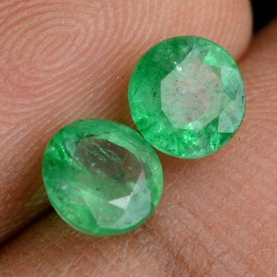 NATURAL LIGHT GREEN EMERALD LOOSE GEMSTONE (2 pieces) ROUND CUT (2.9 to 3.1 mm)