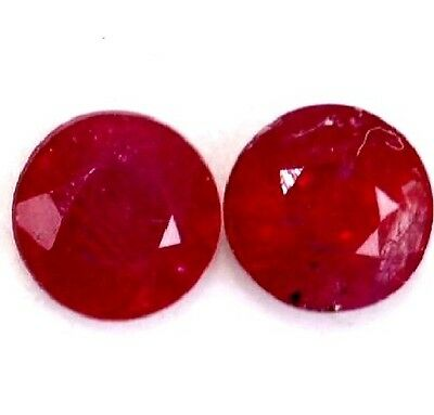NATURAL LOVELY RED RUBY LOOSE GEMSTONES (2 pieces) ROUND SHAPE (3.5 to 3.7 mm)