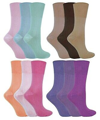 3 Pack Ladies Thin Anti Sweat Loose Wide Top Non Elastic Bamboo Socks for Summer
