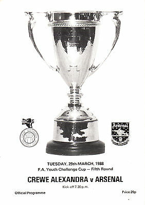 1987/88 Crewe Alexandra v Arsenal, FA Youth Cup, PERFECT CONDITION