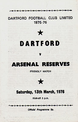 1975/76 Dartford v Arsenal Reserves, friendly, PERFECT CONDITION