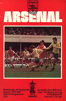 1979/80 Arsenal v Fenerbahce  - ECWC - PERFECT CONDITION