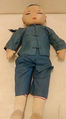 """Antique Vintage Chinese Oriental Asain farmer Cloth Doll - 18"""" tall with Costume"""