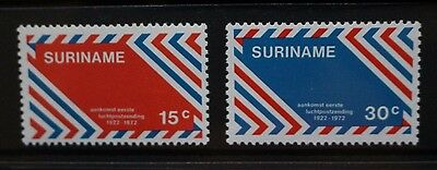 SURINAME 1972 Anniversary of First Airmail. Set of 2. Mint Never Hinged. SG733/4