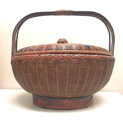 "Antique 14"" Red Chinese Bamboo Woven Wedding Basket Home Decor Vintage Picnic"