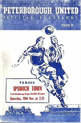 1955/56 Peterborough United v Ipswich Town, FA Cup 1st Round, PERFECT CONDITION