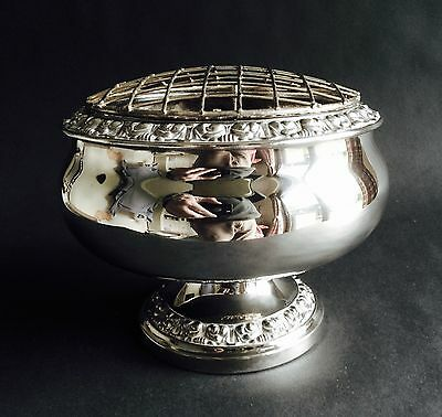 Lovely Vintage Silver-Plated Rose Bowl With Frog, Ianthe Of England
