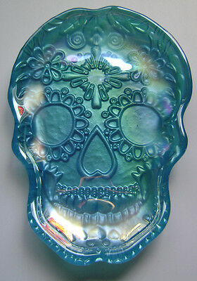 Skull Plate Turquoise Blue Glass Day Of The Dead New Akcam Made In Turkey