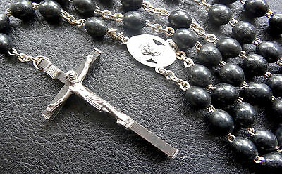 antique carved ebony wood bead Italy crucufix cross rosary necklace -C159