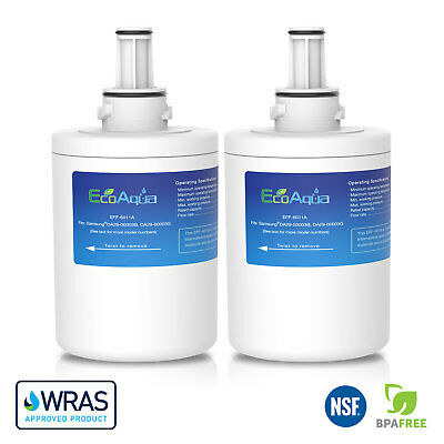 2 x EcoAqua Water Filters to fit Samsung American Style Fridge Model RS55XKGNS