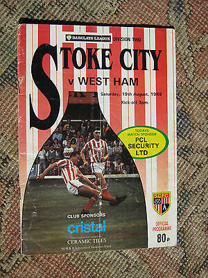 PROGRAMME STOKE CITY v WEST HAM UTD DIV2   19.8. 1989  EX CONDITION