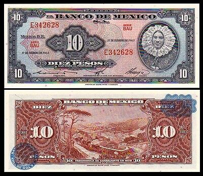 Mexico 10 PESOS 1965 P 58k UNC OFFER !