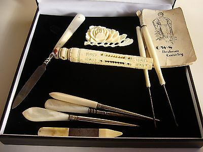 Antique crochet sewing tools bowine bone carved needle case