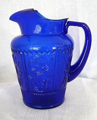 "COBALT BLUE Glass Water/ Lemonade Pitcher Ice Lip 8 1/2"" Tall Vintage"