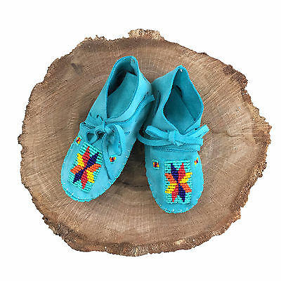 Native American Baby Moccasins Soft Sole Shoes Leather Boy Girl Handmade