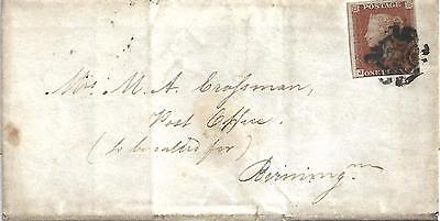 Gb Qv 1844 Wrapper Penny Red Imperf With 'mx' To Birmingham Dated 16Th Feb 1844