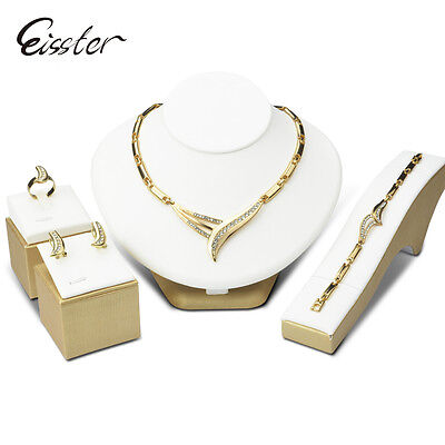 African Bridal Beads Wedding Crystal Jewelry Sets Gold Plated Necklace Earrings