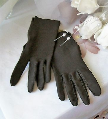 Vintage brown evening gloves Isotone nylon one size wrist length by Paris