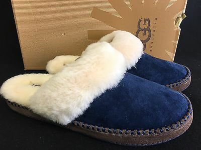 UGG AUSTRALIA SLIPPERS Shoes Slides AIRA Navy SUEDE 1007728 Women's size 8 US