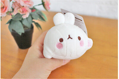 New Molang Rabbit Lying Plush Doll Toy Backpack Clip -4.5""